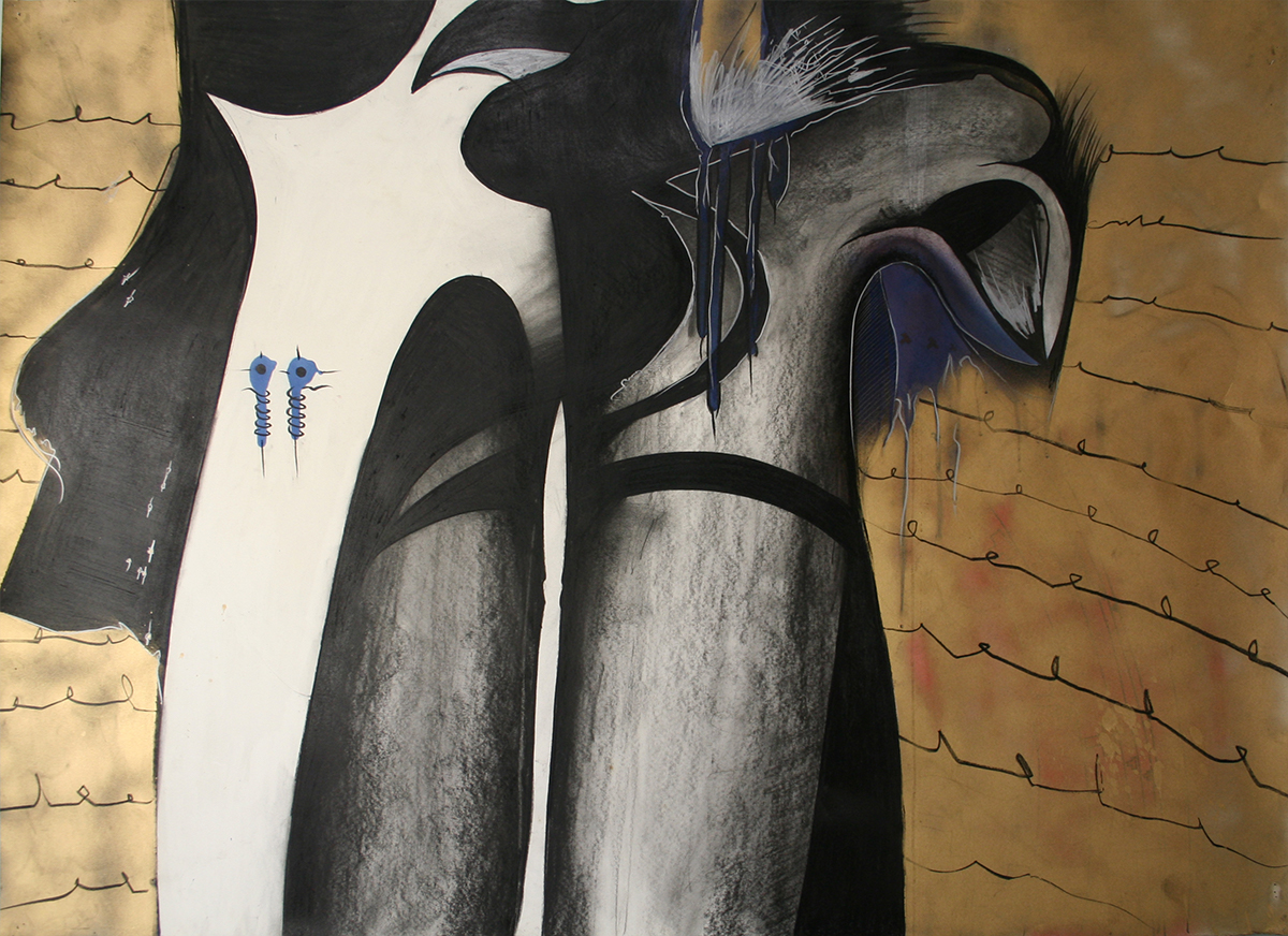 "Black Gold (Dress) charcoal,crayon,spray paint 44""x32"""